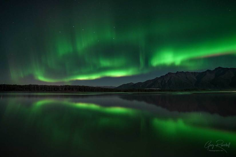 The Northern Lights from the Knik River in Alaska