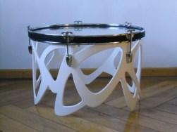 Schlagzeug Bass Trommel, 6mm Float Glas, Lack, Gummi, Band. Bass drum,6mm float glass,paint,rubber,cord. Size: 39cm H x 58cm W