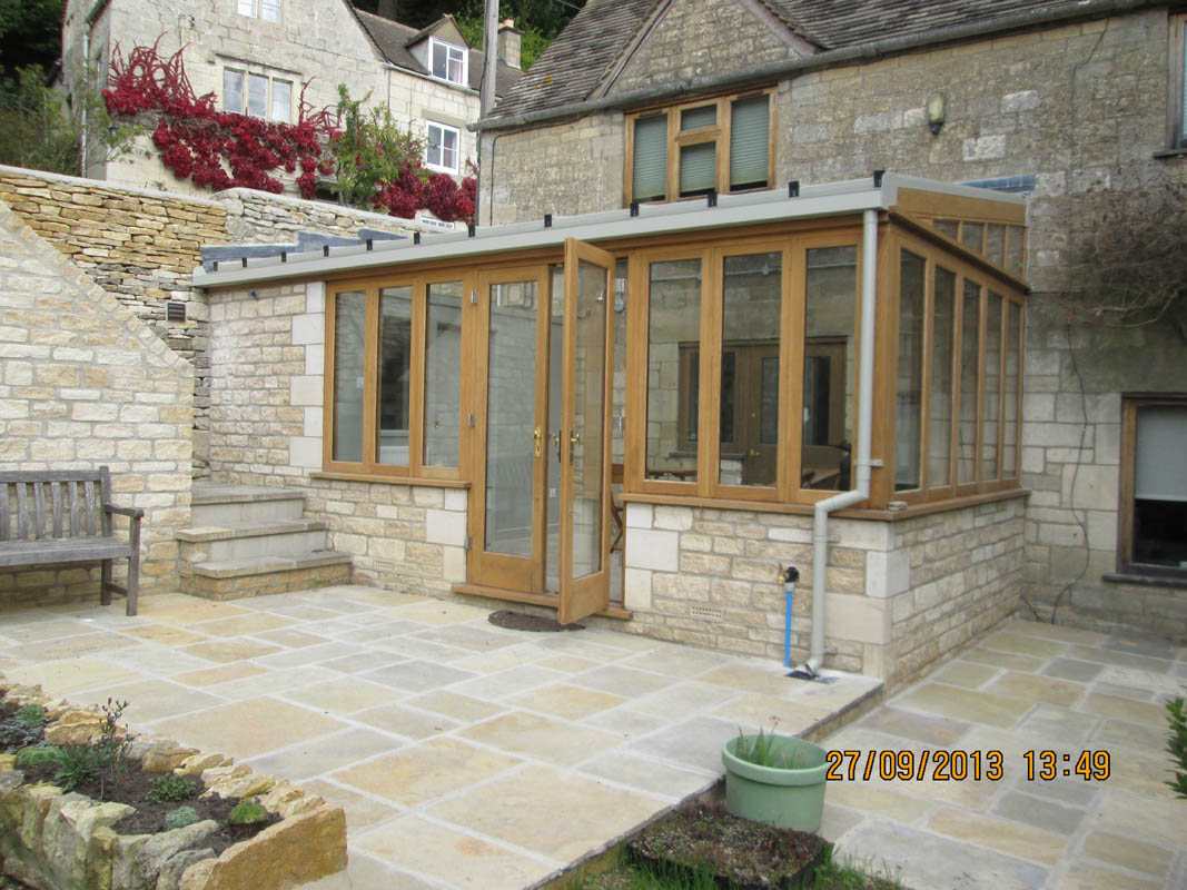 Front elevation of garden room cotswold stone oak wooden