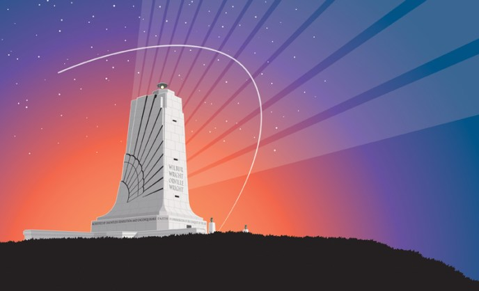 Wright brothers monument Illustration. By Gary Whitley