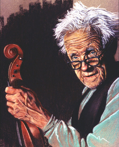 Old violinist. Pastel. Gary Whitley,
