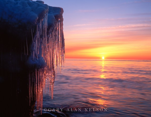 Icicles Dangling Over Lake Superior North Shore Of