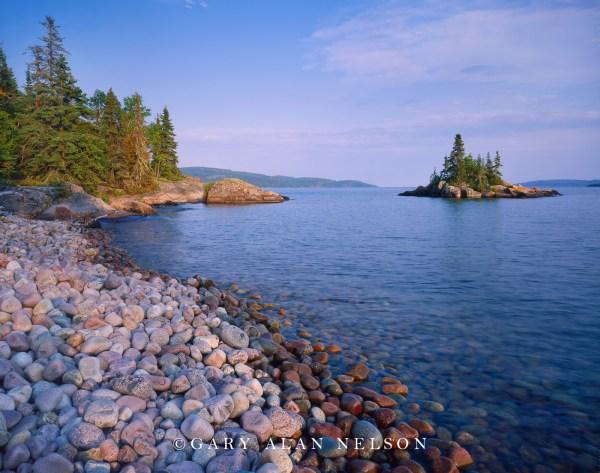 Stone Beach And Island Lake Superior Rainbow Falls Provincial Park Ontario Canada Gary
