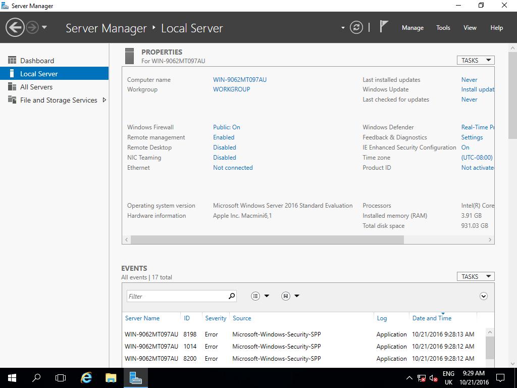 Windows Server 2016 Mac Mini Server Manager
