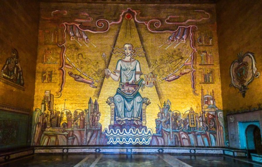 Queen of Lake Mälaren mosaic in the Golden Hall of the Stockholm City Hall
