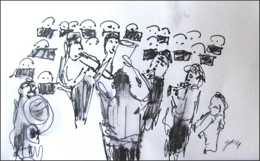 """Palau de la Musica Banda de Valencia, 2"""" x 4"""" pen and ink"""