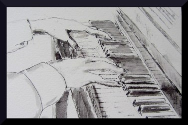 Piano Fingers , pen and ink
