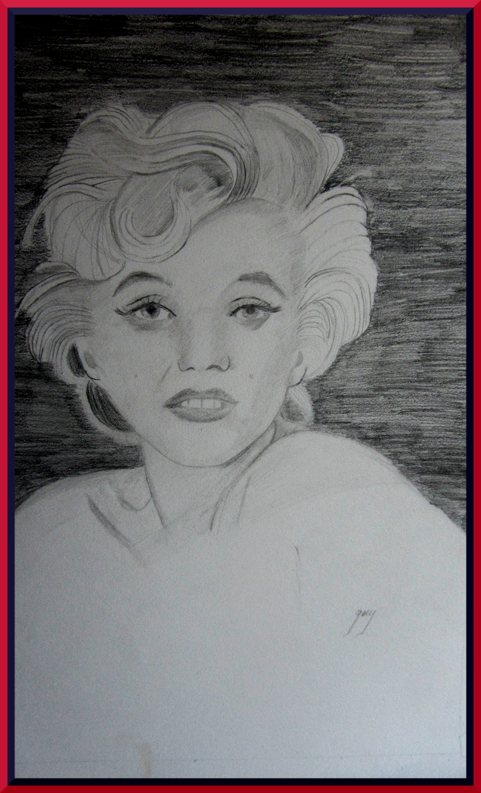 """Marilyn Monroe Shortly Before Her Death, graphite, A3, 11.5 x 16.5"""""""