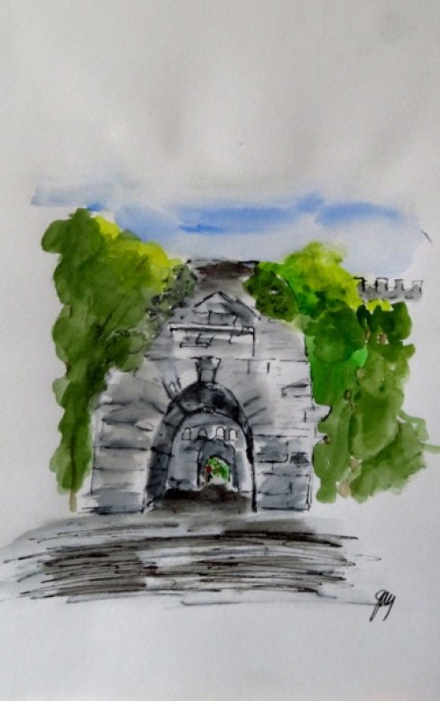 St Stephens Gate, Rome, watercolor, A4, 8.25 11.5""