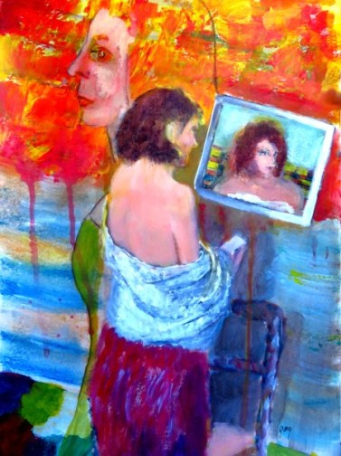 """Women, with Towel, cataracts (acrylics), A3/8.3 x 11.5"""" on high quality paper"""