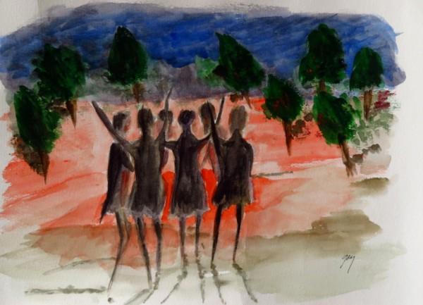 Zambian Women -6- Around-Fire