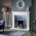 Kensington marble mantel with classic cast plate with gas fire