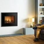 Riva2 500 evoke gas fire with black glass trim