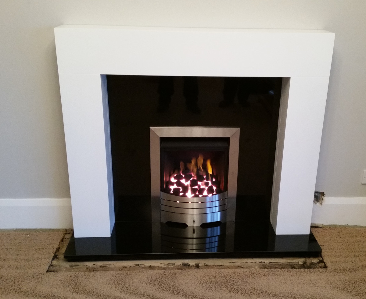 Wooden Malo Mantel with Legend Gas Fire and Granite Hearth and Back-Plate