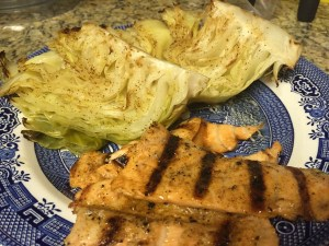 Cabbage boats with salmon toro (belly) pieces