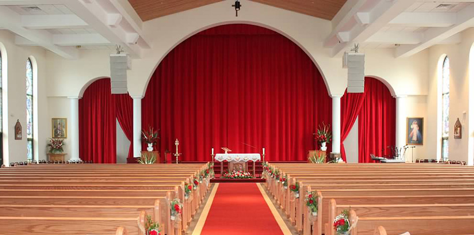 church curtains and house of worship