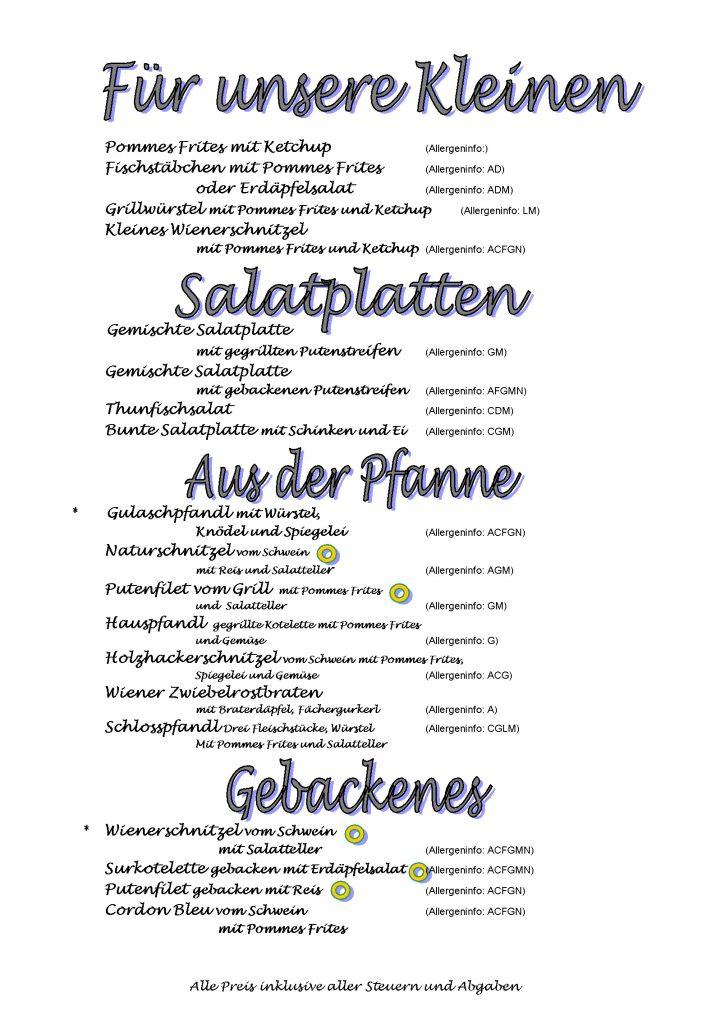Speisekarte  Gasthof Maurer