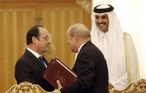 Francois-Hollande-Jean-Yves-Le-Drian-Quatar