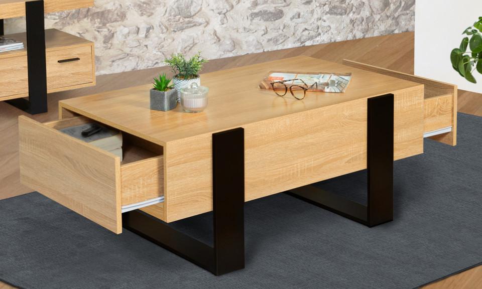 table basse avec tiroirs bois noir brixton