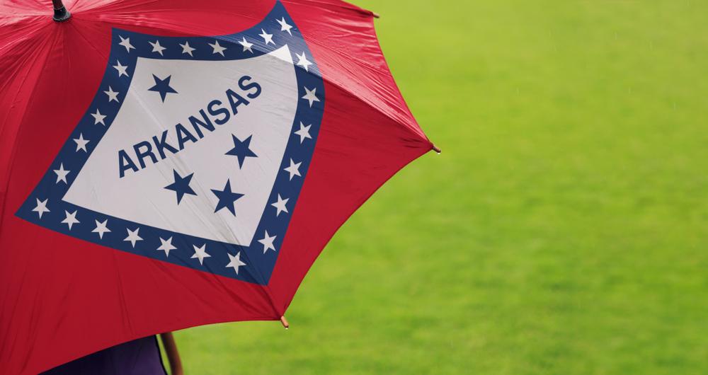 Arkansas logo umbrella. Things to do in NW Arkansas when it rains