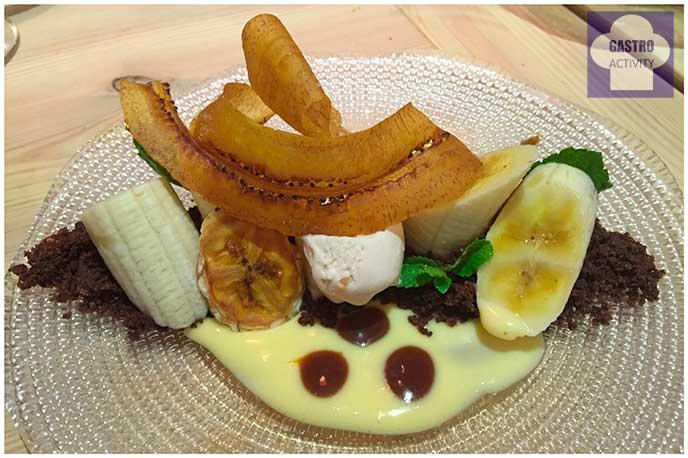 Plátano, cacahuete, lima y tofe