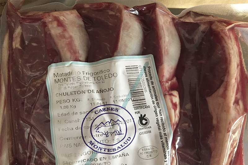 Etiquetado carne de ternera Tolecarnes