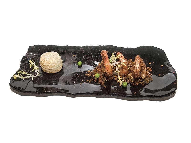 Menu degustacion del chef Scott Xu para China Taste 2018 Gambas con ajo y chili
