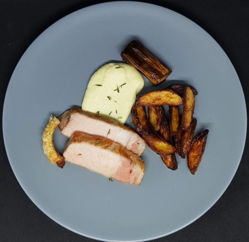 Sous vide koteletter med rodfrugt pure og kartofler