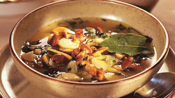 Chanterelle soup with turnips