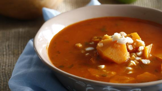 Lentil soup with chickpeas and pumpkin