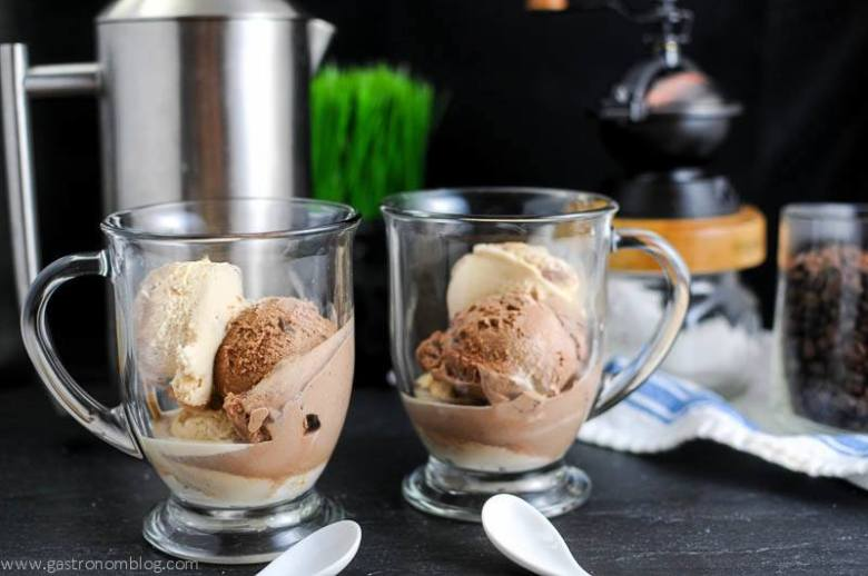 Gelato in clear mugs for affogato with a french press and coffee grinder in the background with white ceramic spoons