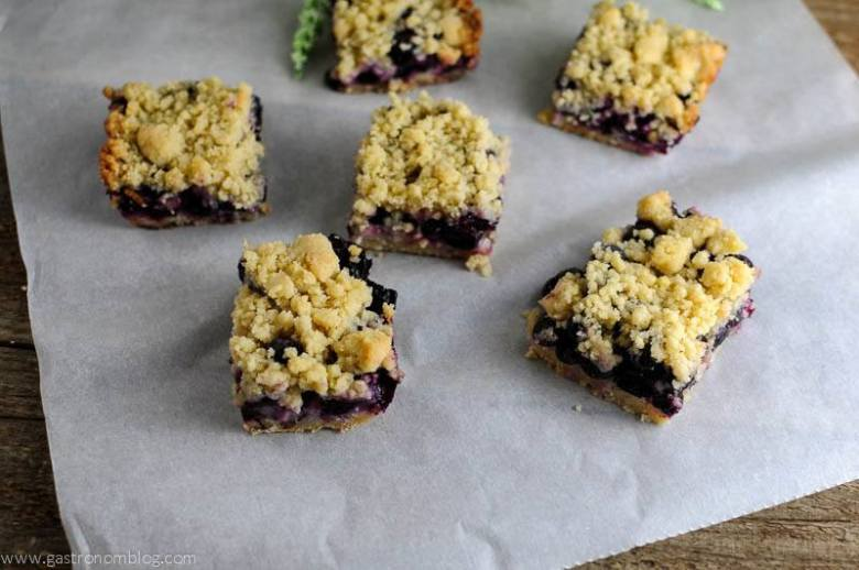 Blueberry Streusel Coffee Cake Bars on parchment paper