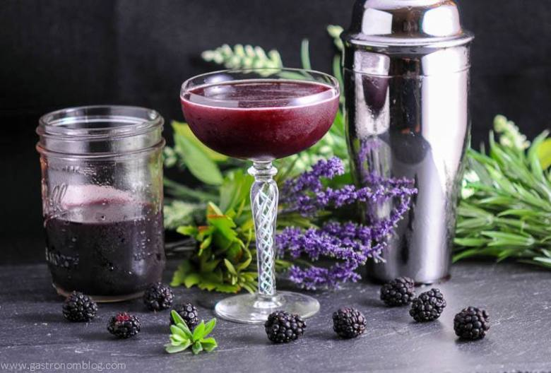Brandy and Blackberry Lavender Shrub Cocktail