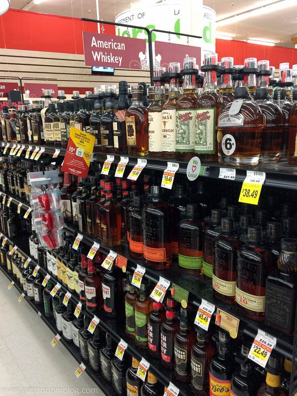 Liquor aisle at grocery store