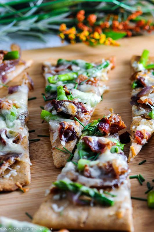 Bacon Blue Cheese Flat Breads on cutting board