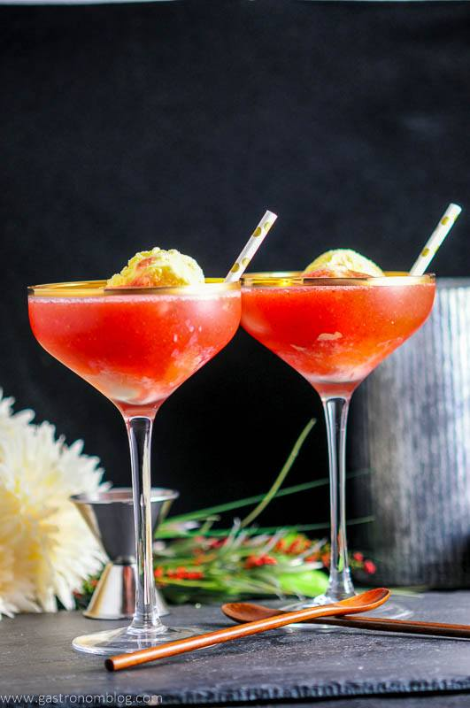 Strawberry Rhubarb Daiquiri Float