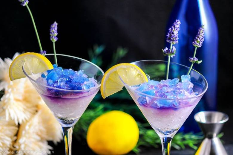 Lavender Lemon Gin and Tonic Granita Cocktail