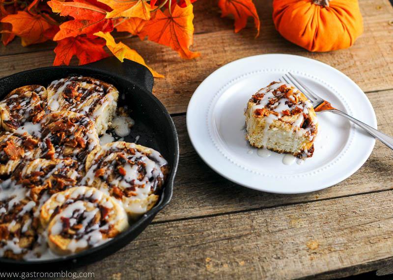 Bourbon Bacon Cinnamon Rolls are a delicious fall treat.