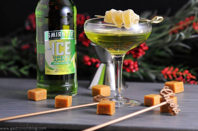 Canided ginger and caramel garnish our Caramel Green Apple cocktail featuring Smirnoff Ice Green Apple!