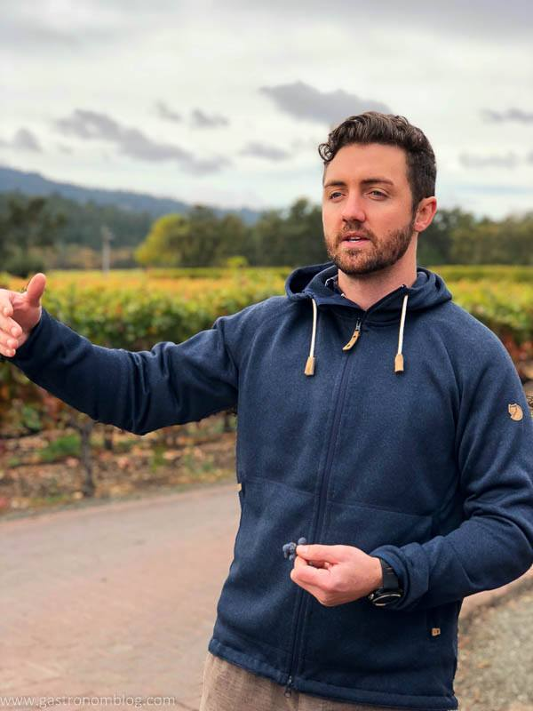 Micheal, the tasting room manager at Benessere leads us on a tour of the vineyard.