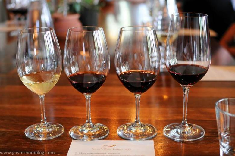 A flight of wines at Frog's Leap in the tasting room in Napa.