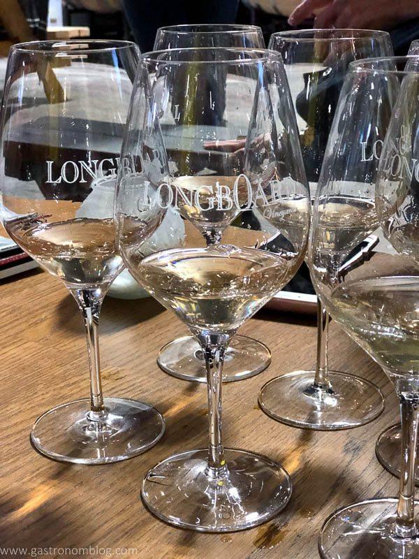 Sipping Chardonnay at Longboard Vineyard in Healdsburg, California.