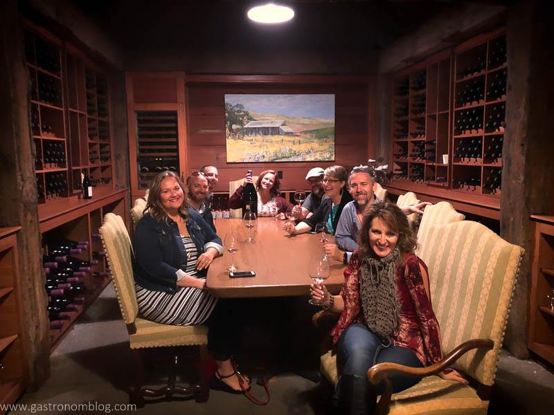 Our group of friends in the members exclusive tasting room in the wine cave of Thomas George Estates Winery.