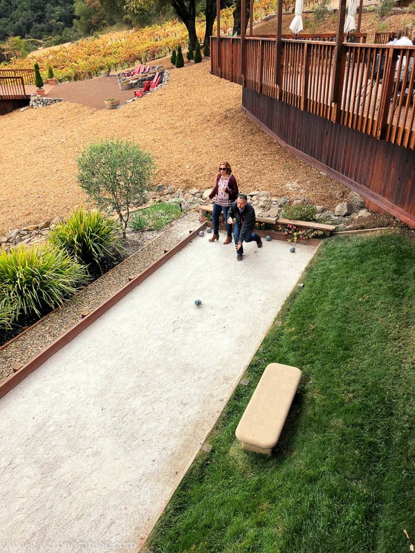 Playying bocce at Armida Winery, Dry Creek AVA California.