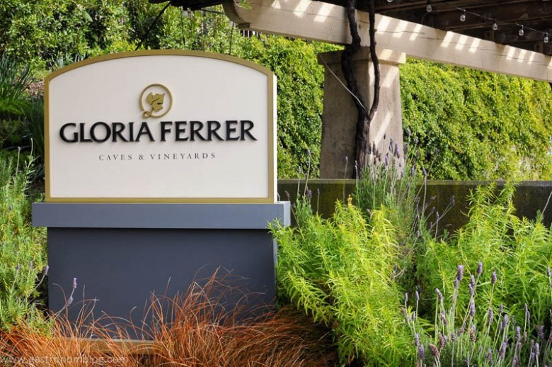 Sign at the enterence to Gloria Ferrer Caves and Vineyards in Sonoma California.