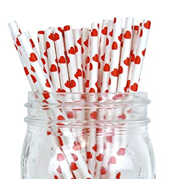 Just Artifacts - Decorative Paper Straws 100pcs - Heart Pattern - Red - Decorative Paper Straws for Birthday Parties, Weddings, Baby Showers, and Life Celebrations!