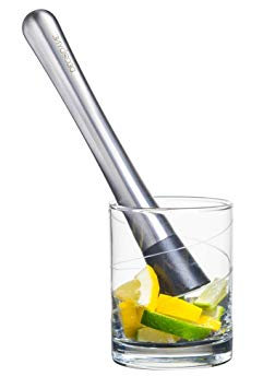 Cocktail Muddler - Stainless Steel - Grooved Nylon Head - Create Delicious Refreshing Cocktails by Decodyne.