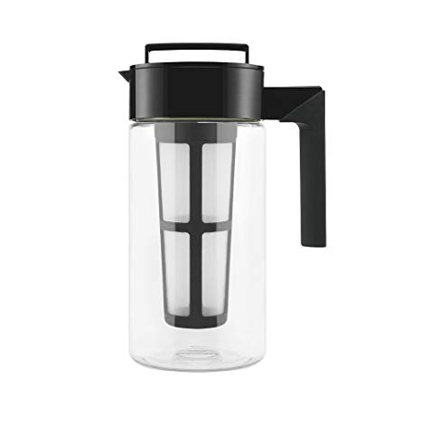 Takeya Patented Deluxe Cold Brew Iced Coffee Maker with Airtight Seal & Silicone Handle, Made in USA, 1-Quart, Black