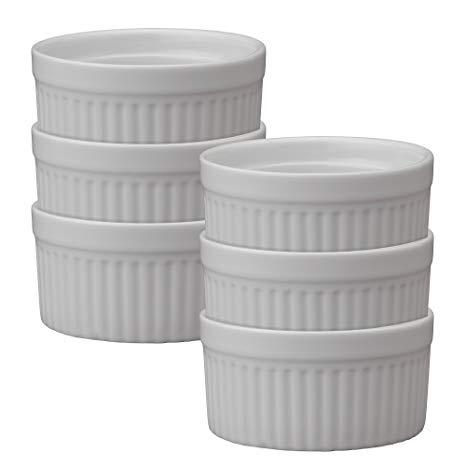 HIC Ramekins, Fine White Porcelain Souffle, 3.5-Inch, 6-Ounce Capacity, Set of 6