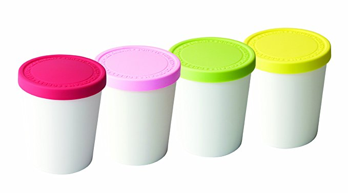 Tovolo Tight-Fitting, Easy Stacking, Mini Sweet Treat Tubs, 6 Ounce - Set of 4